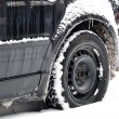 Winter condition black car. — Stock Photo