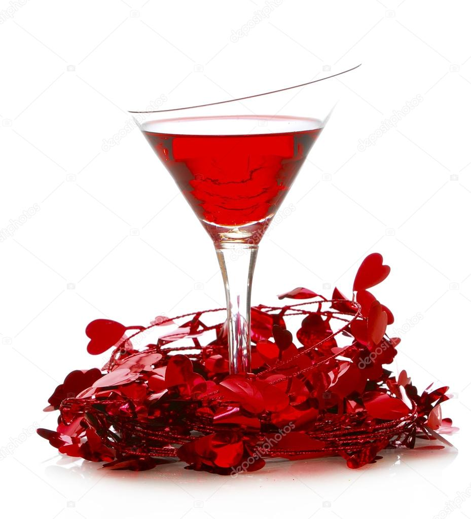 Love potion - valentines day cocktail isolated on white background  Stock Photo #15312901