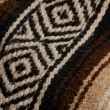 Close up details on a brown and beige mexican blanket — Stock Photo