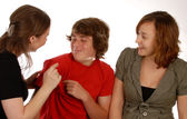 Three friends or siblings playing around — Stock Photo