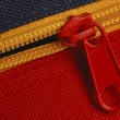 Details of zipper on blue and red canvas bag — Stock Photo #24228127