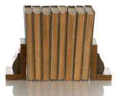 Old books held up with wooden bookends — Stock Photo