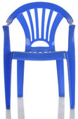 Blue plastic child's chair — Stock Photo