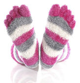 Fuzzy pink toe socks — Stock Photo