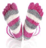 Fuzzy pink toe socks — Stock Photo