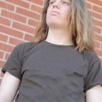 Thirteen year old teenage boy school bully — Stock Photo #24279525