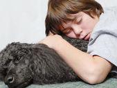 Twelve year old boy asleep on standard poodle dog — Stock Photo