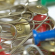Paper clips and thumb tacks — Stock Photo