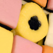 Close up details of colorful details on allsorts candy — Stock Photo