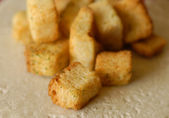 Close up details of croutons with shallow depth of field — Stock Photo