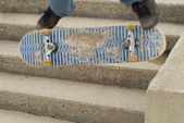 Skateboard trick off stair set with intentional blur for motion — Stock Photo