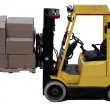 Industrial forklift with a load of warehouse boxes - Stock Photo