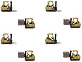 Forklift with full load and empty forklift — Stock Photo