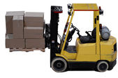 Průmyslový vozík s nákladem skladu boxy — Stock fotografie