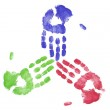 Finger painted hands showing concept of team working together — Stock Photo
