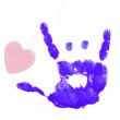 Finger painted hand making rock on sign with heart attached — Stock Photo #24416397