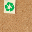 Corkboard with recycle symbol on thumb tacked not — Stockfoto #24417019