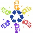 Foto Stock: Many colorful hands recycling on community or global level