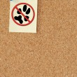 No pets allowed note tacked to corkboard — Stock Photo #24417381