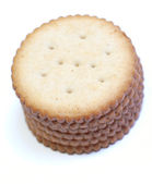 Stack of round crackers on white background — Stock Photo