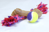 Dog toys - rawhide, ball and tug toy — Stock Photo