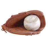 Baseball and baseball glove isolated on white — Stock Photo