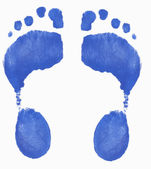 Two painted footprints isolated on white background — Stock Photo