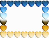 Blue and gold gradient heart border — Stock Photo