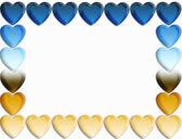 Borde del corazón degradado azul y oro — Foto de Stock