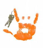 ロック記号を作る手のキーのセット — ストック写真