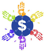 Colorful hand prints dividing up the money and taking their share — Stock Photo