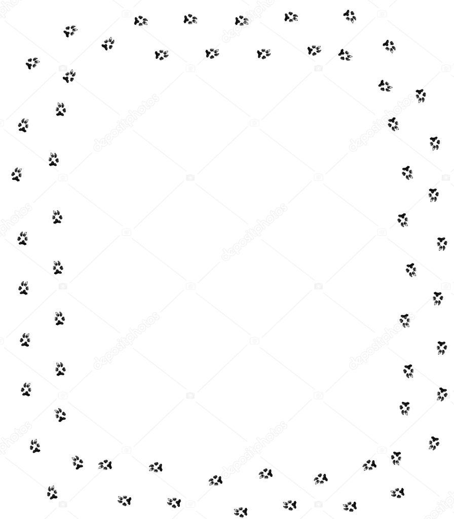 Dog Paws Border Dog paw print border on white