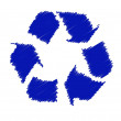Blue recycling symbol - Stock Photo