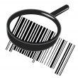 Illustration of cool identification barcode sticker with magnifying glass - Stock Photo