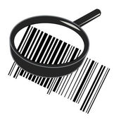 Illustration of cool identification barcode sticker with magnifying glass — Stock Photo