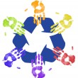Hands working together to recycle - on global level — Stock Photo #24738063