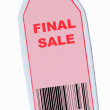 Final sale tag with barcode isolated on white — Photo