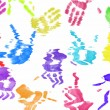 Colorful hand print background on white - Stock Photo