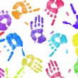 Stock Photo: Multi colored expressive hand print background on white