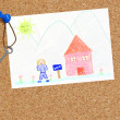 Child's sold house drawing with keys to home — Stock Photo