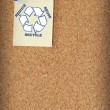 Stock Photo: Reduce reuse recycle on note tacked to corkboard - room for copyspace