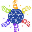 Many different colored hands working to recycle together — Stockfoto #24738447
