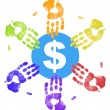 Many colored hand prints all reaching out for the money — Stock Photo