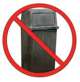 Garbage bin with no or don't symbol - no dumping — Stock Photo