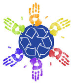 Many different colored hands working to recycle together — Stock Photo
