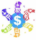 许多不同的色手所有想要一块钱 — 图库照片