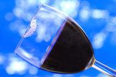 Rouge à lèvres sur le bord du verre à vin — Photo