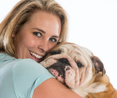Woman and her dog — Stock Photo