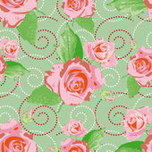 Seamless background with pink rose flowers — Stock Vector