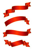 Red satin ribbons — Stock Vector